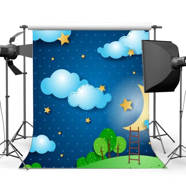 Fondo de ducha de bebé dulce fondo de dibujos animados estrellas brillantes Luna Azul cielo blanco nube fondo