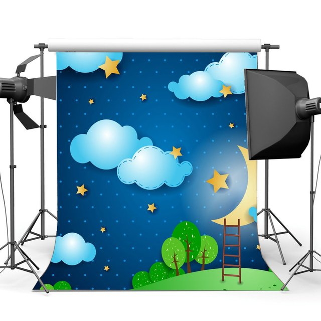 Sweet Baby Shower Backdrop Cartoon Backdrops Twinkle Stars Shining Moon Blue Sky White Cloud Background