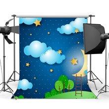 Tatlı Bebek Duş Zemin Karikatür Arka Planında Pırıltı Yıldız Parlayan Ay Mavi Gökyüzü Beyaz Bulut Arka Plan