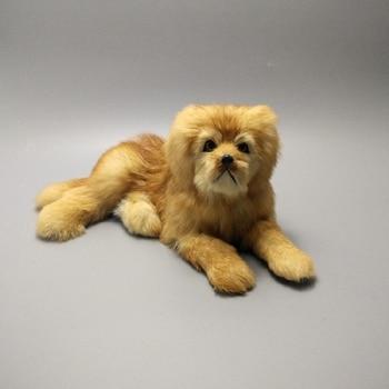 simulation cute lying yellow dog 30x17x13cm model polyethylene&furs dog model home decoration props ,model gift d488
