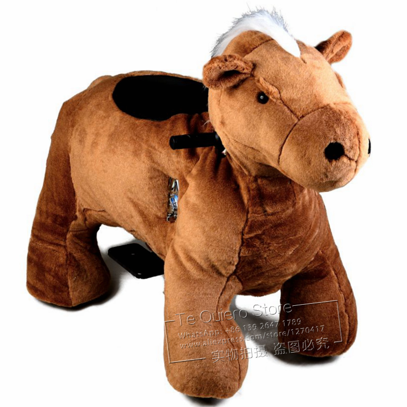 Outdoor Amusement Park RC Battery Operated Pony Ride Plush Toy Animal Electric Kiddie Rides On Stuffed Animal Kids Ride On Horse
