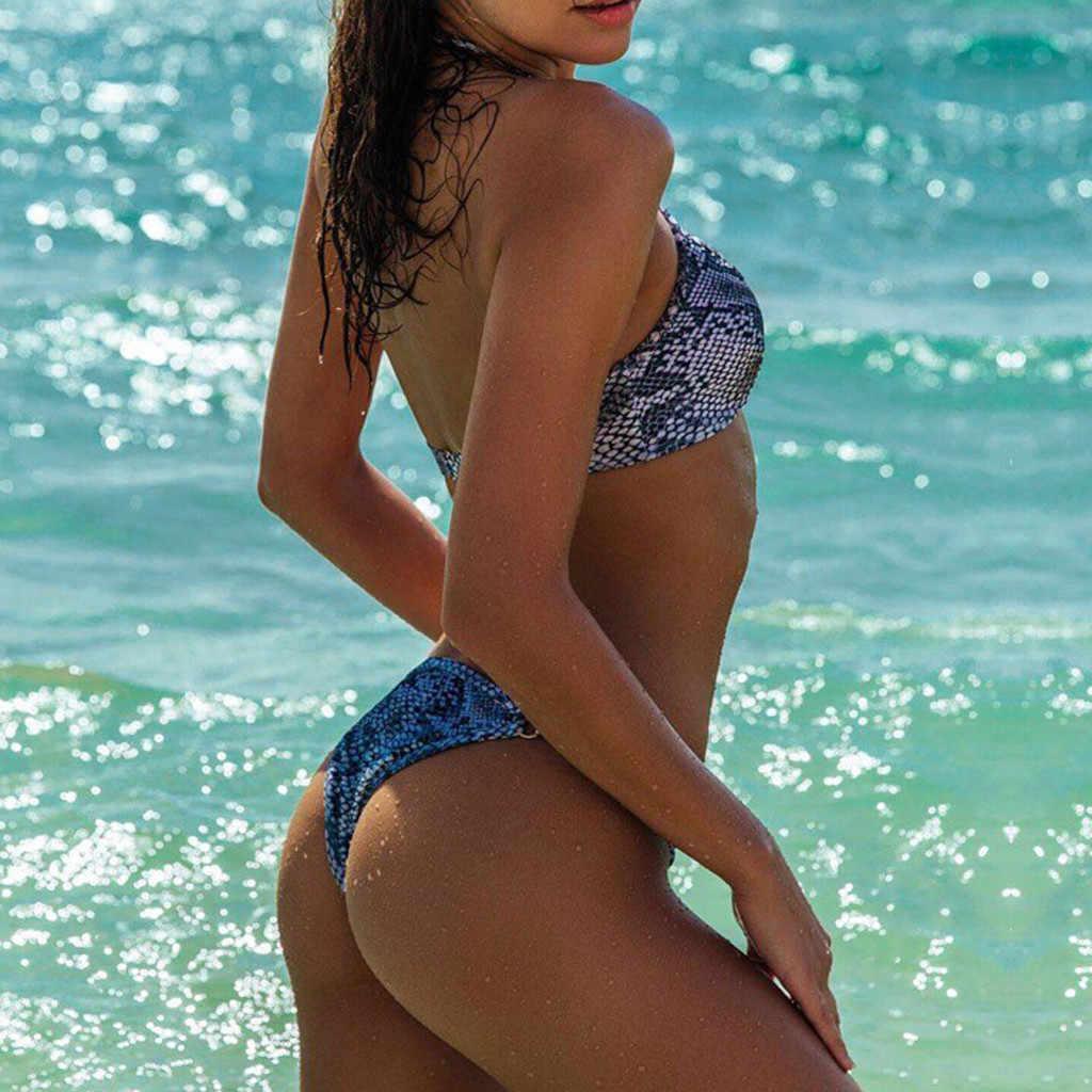 Grote Maat Serpentine Afdrukken Bikini Diepe V Bandage Tweedelige Badpak Hoge Taille String Push Up Padded Swimwea минибикини 2 STUKS