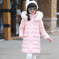Girls White Down Jacket with Large Fur Cap Kids Long Hooded Thicken Parkas Child Winter Warm Jacket Pocket Outerwear for 8y 9y