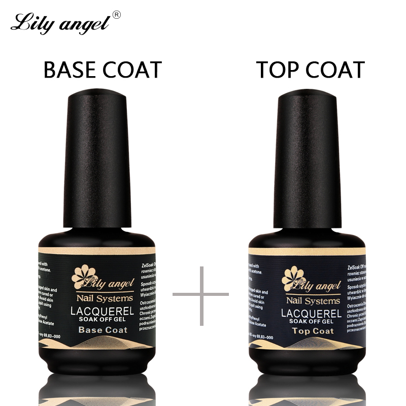 Lily angel 2Pc / Set 15ml UV Nail Gel Needed Base Coat y Top Coat Set Larga duración Nail Gel Laca Sellador Brillante Manicura UV LED