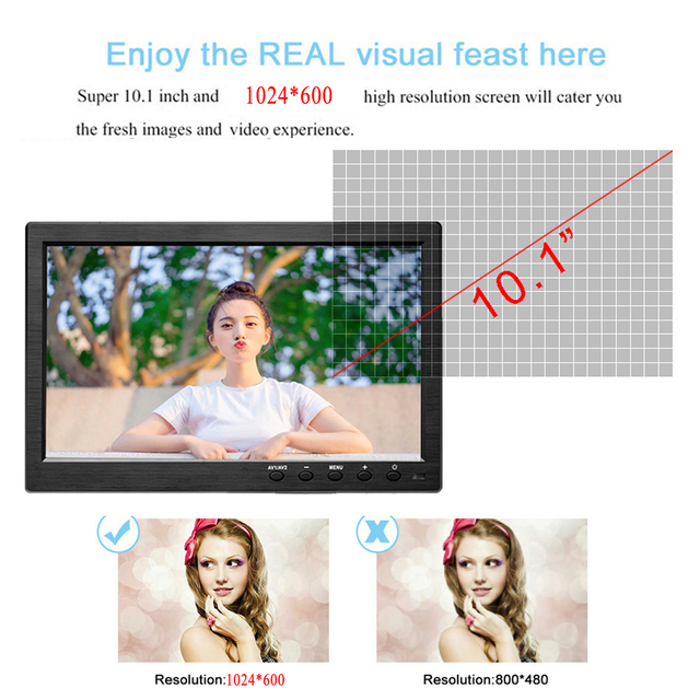 """Podofo 10.1"""" LCD HD Monitor Mini TV & Computer Display Color Screen 2 Channel Video Input Security Monitor With Speaker HDMI VGA 5"""