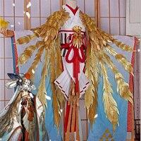 COSPlAY Mobile Game Onmyoji Catch Bird New Skin Golden Crane Feather 6pcs Cos Clothes