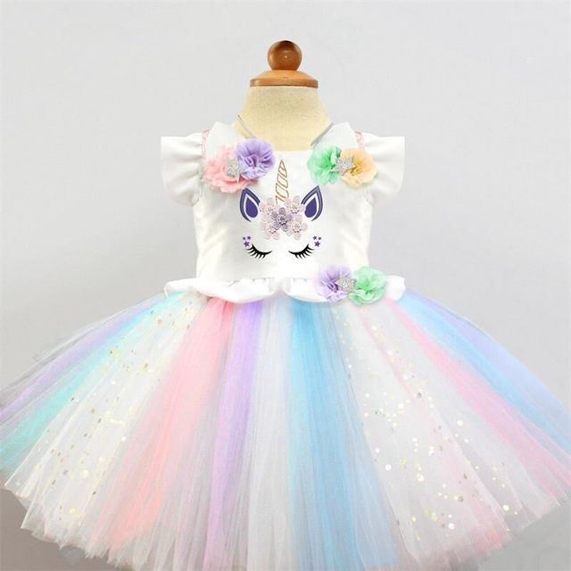 78b708ad70493 Fancy Unicorn Dress For Girls Dress Baby 1 Year Birthday Party Dress Girl  Frock Rainbow Kid Costume For Kids Formal Wear 2 6T
