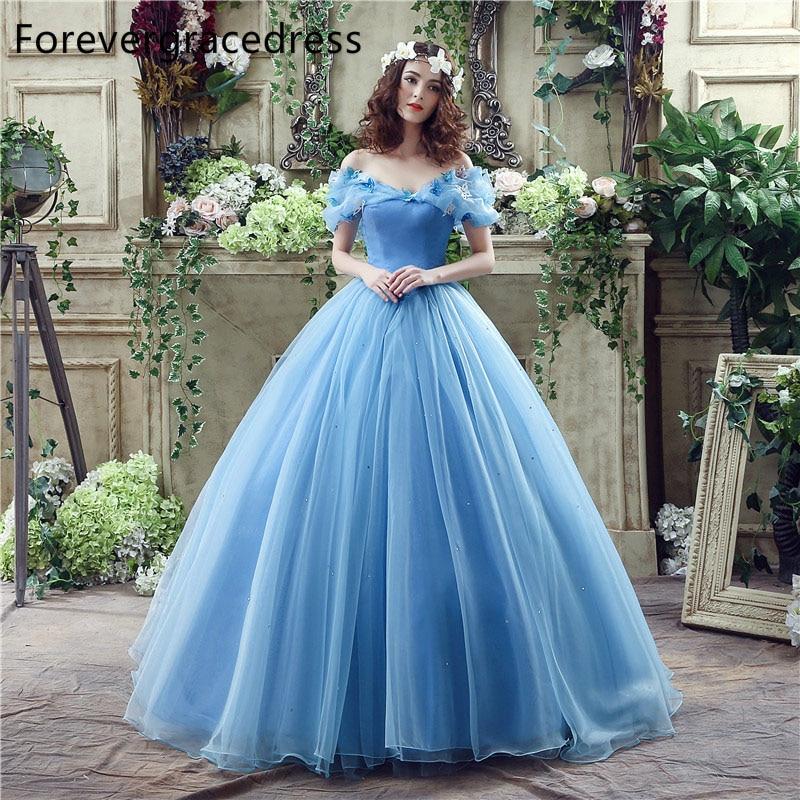 US $137.15 35% OFF|Forevergracedress Cinderella Blue Long Wedding Dress Off  Shoulder Backless Lace Up Bridal Gown Plus Size Custom Made-in Wedding ...