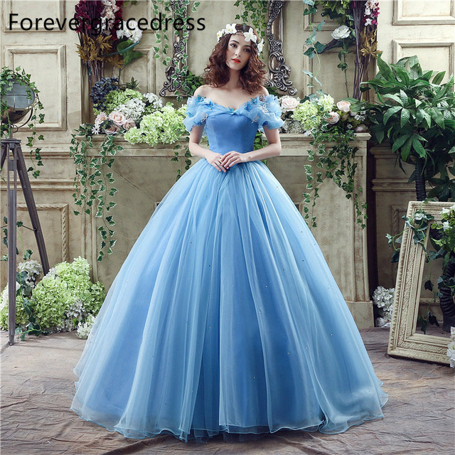 Forevergracedress Cinderella Blue Long Wedding Dress Off Shoulder Backless Lace Up Bridal Gown Plus Size Custom