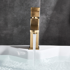 Image 4 - Brushed Gold Basin Sink Faucet Single Lever Square Hot Cold Water Tap Deck Mounted Bathroom Vessel Sink Mixers One Hole