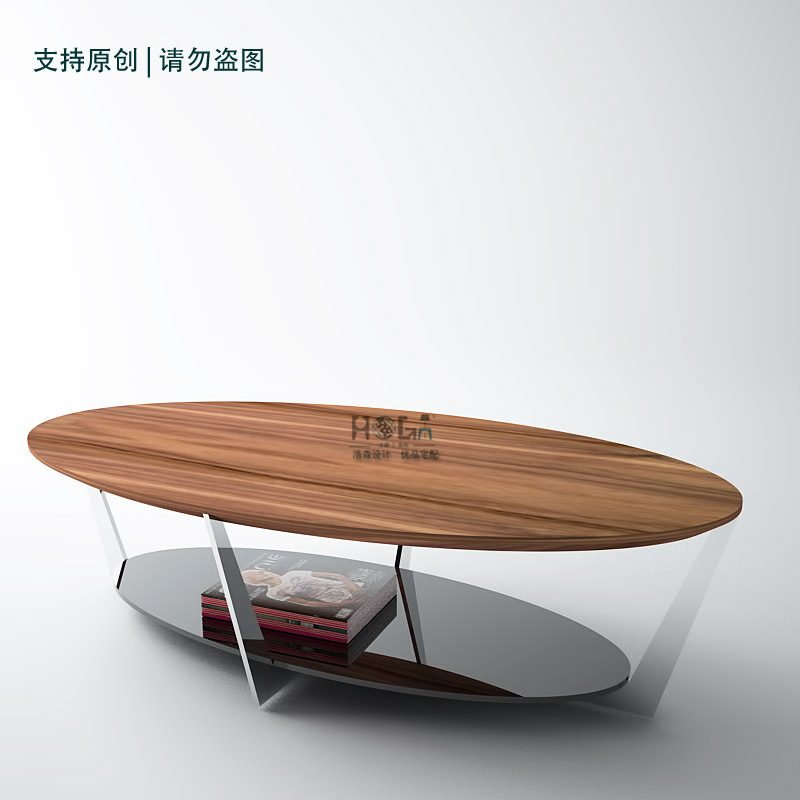Oval de madera de nogal de espesor de acero inoxidable marco pintado ...