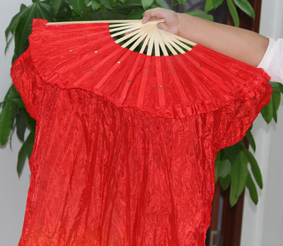 1.5M Hand Made Belly Dance Silk Bamboo Fan Veils Manual Red Yellow WY2703