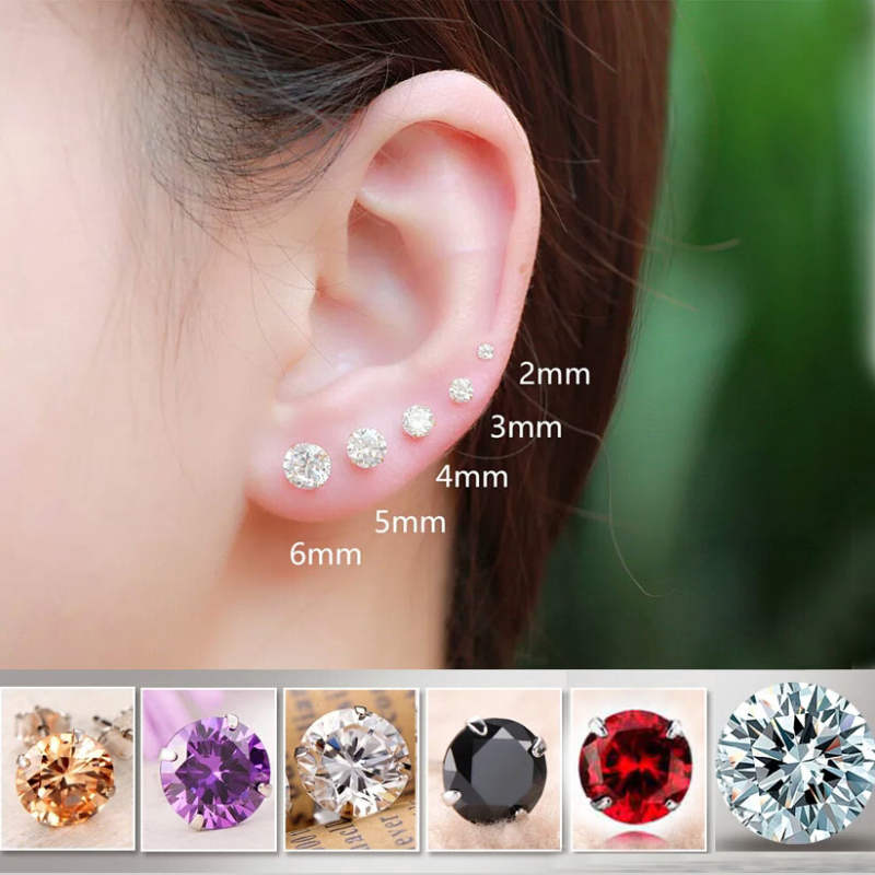 Unisex 100% Pure 925 Sterling Silver Four Claws Round CZ 3mm 4mm 5mm 6mm 7mm Piercing Stud Earrings For Women Men Girls Boys