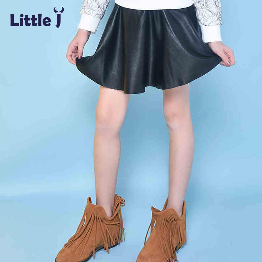 3a98285dadf9 ... Little J Girls Black Skirts Fashion Elastic Waist Baby Girl PU Faux  Leather Skirt Autumn Kids ...