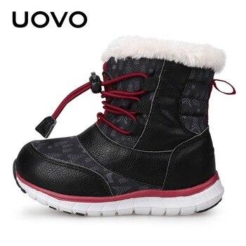 UOVO 2018 Bottes De Neige Enfants Bottes D'hiver Garçons Chaussures Imperméables Mode Chaud Bébé Bottes Pour Garçons Bambin Chaussures Taille 23 #-30 #
