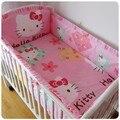 Продвижение! 6 шт. привет китти ребенка постельного белья малышей постельное белье утешитель детская кроватка лист бампер, Включают ( бамперы + лист + )