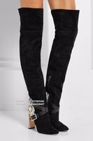 Fashion Black Over The Kneee Boots Women Python Pattern Block Heeled Buckle Straps Thigh High Belted boots Winter