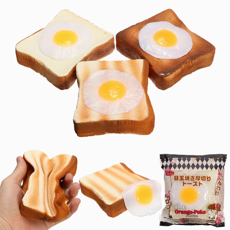 Squishy Jumbo Toast : 10Pcs/Lot Original Egg Toast Squishy Slow Rising Jumbo Orange Poko Bread Cute Straps Soft Cream ...