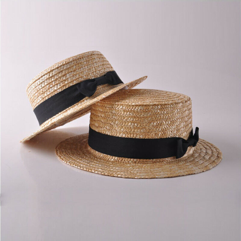 Family Hat Women's Kids Girls Straw Bowler Boater Sun Hat Round Flat Caps Brim Summer Beach