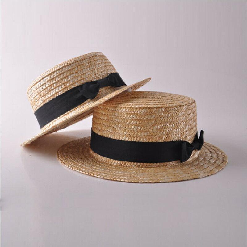 Family Hat Women's Kids Girls Straw Bowler Boater Sun Hat Round Flat Caps Brim Summer Beach