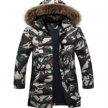 Winter Fashion Mens Full Length Hooded Coats Boys Fur Collar Zip Duck Down Coat Hooded Outwear Warm Camo Thicken Parkas Size 4XL