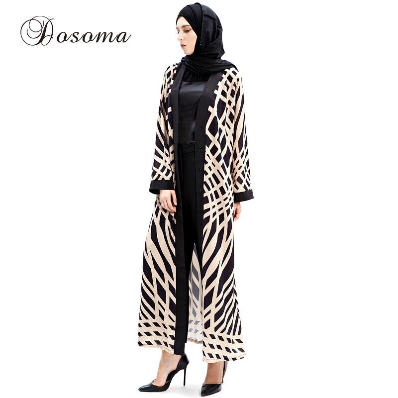 Fashion Islamic Muslim Pattern Maxi Dress Print Cardigan Robes Abaya Turkish Instant Hijab
