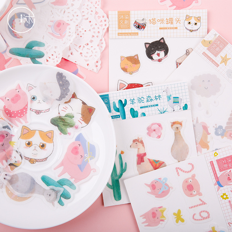 40 Pcs/pack Pig Cat Unicorn Alpaca Forest Bullet Journal Decorative Stationery Stickers Scrapbooking DIY Diary Album Stick Label