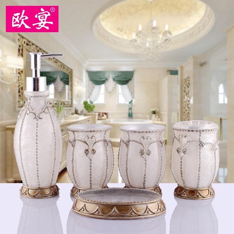 Continental bathroom minimalist Set suite wash kit wedding Toiletries Resin bath gel bottle soap box Toothbrush holder Tumbler