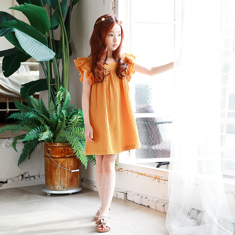 ce4f3f5df8c9d 4 - 14 yrs baby girl summer china style simple loose yellow dress elegant  birthday party teenage girl dresses new beach clothes