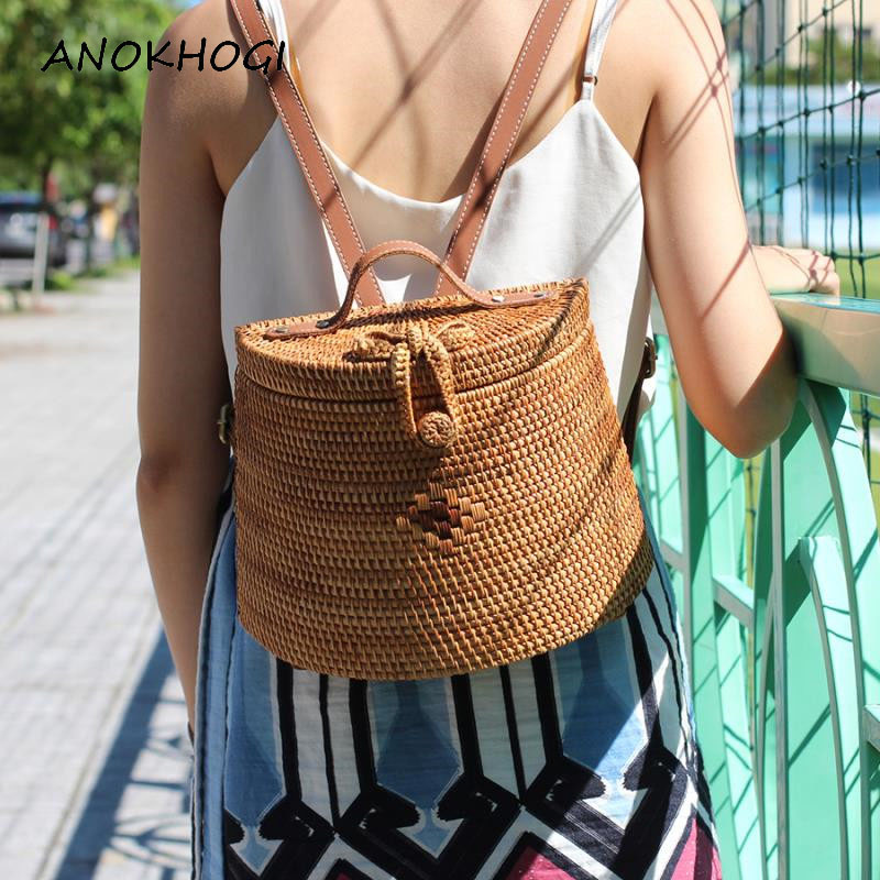 Real Rattan Handmade Bohemia Style Women Backpacks Double Cow Leather Straps Flowers Print Inside Ladies Backpack B353
