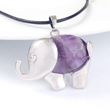 FYJS Unique Silver Plated Elephant Shape Natural Purple Amethysts Stone Pendant Rope Chain Necklace