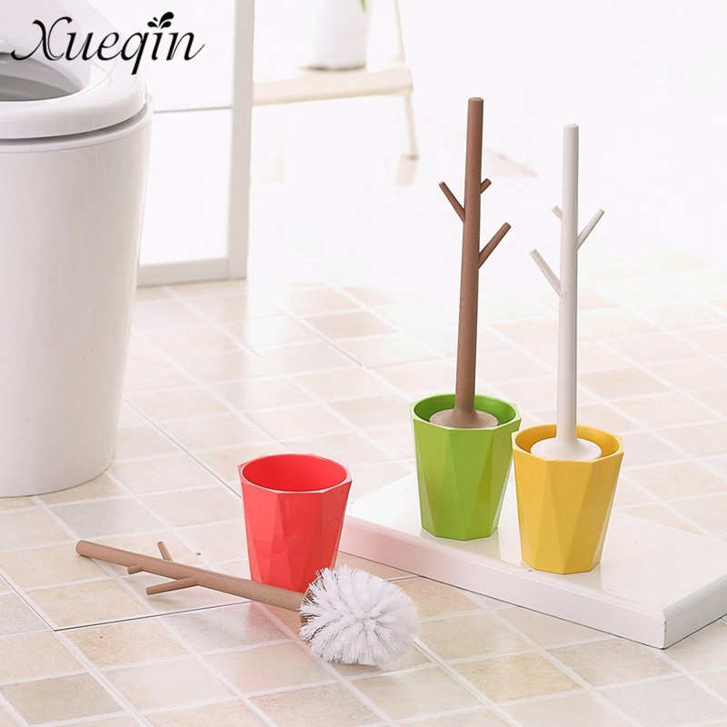 Xueqin Branch Design Plastic Toilet Brush With Funny Holder Strong Durable Type Toilet Brush WC Bathroom Cleaning Tool luxury abs chrome plated toilet paper holder roller rectangle convenience durable wc bathroom accessories high quality vt606 z4