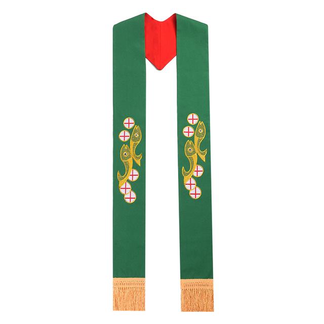 Santo Reversible Robó Sacerdotes Sacerdote Estola Bordada con La Borla para La Casulla/Ornamentos
