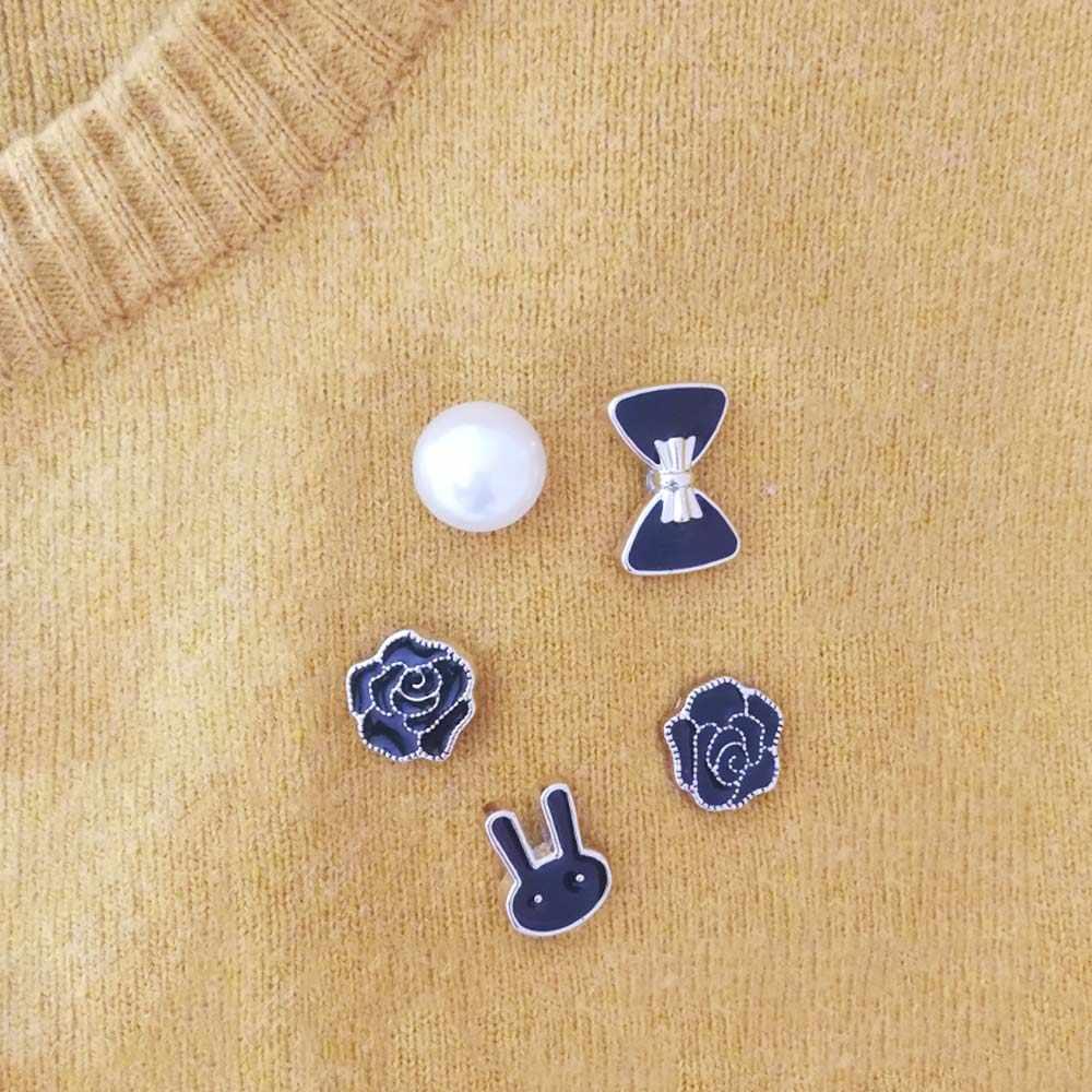 1 Buah 1.2 Cm Wanita Bros Imitasi Bros Mutiara Lapel Pin Busur Rose Lencana Pin Sweter Mantel Pakaian Aksesoris