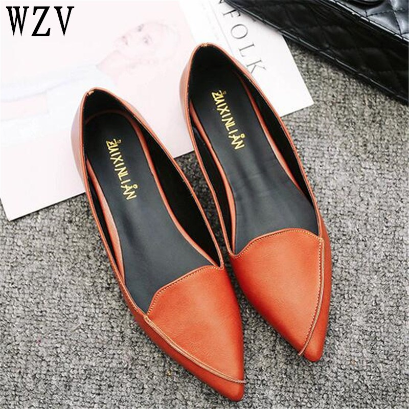2018 Women Fashion Spring Ladies Pointed Toe Flat shoes Ballet Shallow Shoes Loafers Slip On Casual Shoes for women C164 odetina 2017 brand fashion women casual flat spring shoes pointed toe ballet flats bowknot slip on loafers ballerinas plus size