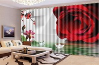 Curtain For Living Room Delicate Rose Boat on the Water 3d Digital Printing HD Practical Beautiful Curtains