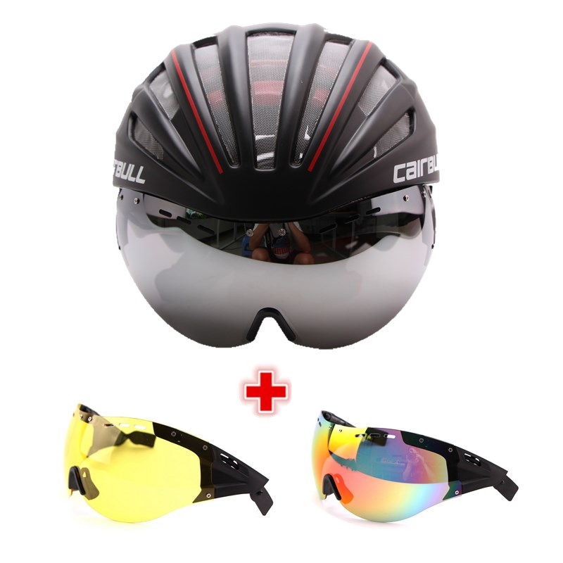 Cairbull 3 Lens Cycling Helmet Goggles Integrally-molded Bicycle Helmet 28 Vents Racing Road Bike Helmet Casco Ciclismo 55-61CM