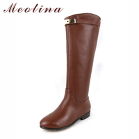 Meotina Genuine Leather Women Riding Boots Low Heels Knee High Boots Motorcycle Boots Brand Design Autumn