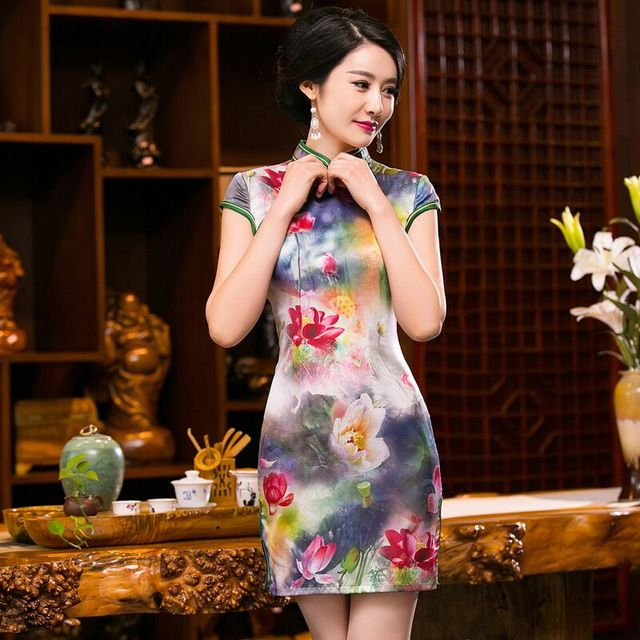 Top Selling Stylish Female Summer Cheongsam Chinese Women's Satin Mini Qipao Dress Size S M L XL XXL 245984