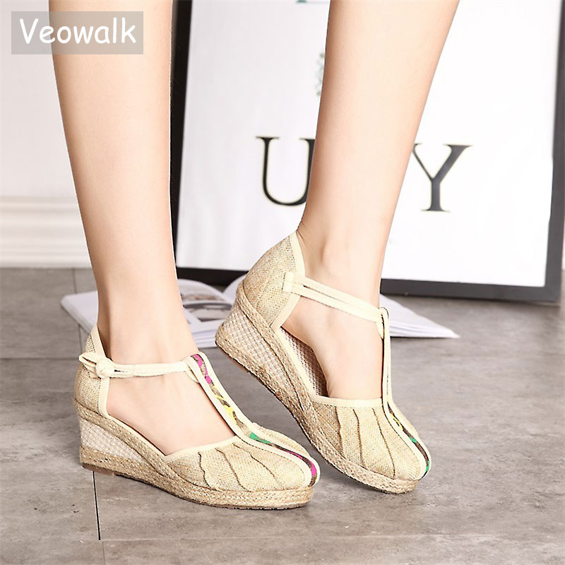 Veowalk Summer Style Women's Linen T-strap Pumps Wedges Sandals Retro Med Heel Soft Cotton Platform Sandials Shoes for Ladies