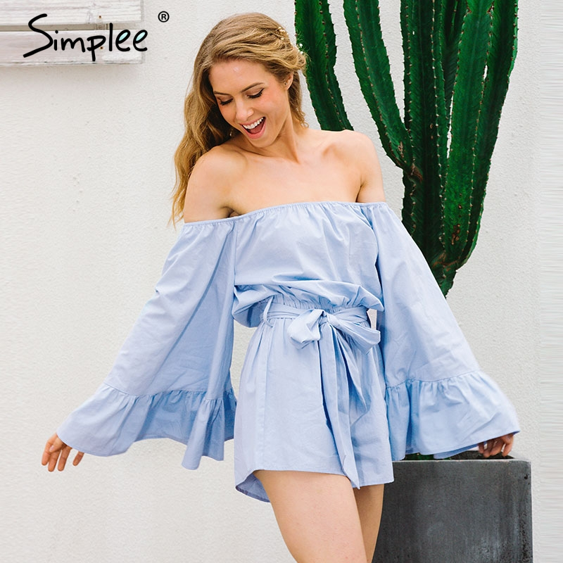 Simplee Off shoulder flare sleeve women   jumpsuit   romper Summer elegant ruffle bow short playsuit Autumn casual blue overalls