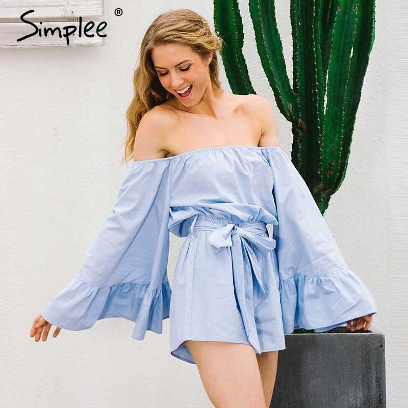 Simplee с открытыми плечами расклешенными рукавами для женщин комбинезон Летние Элегантные рюшами Лук короткий осень повседнев