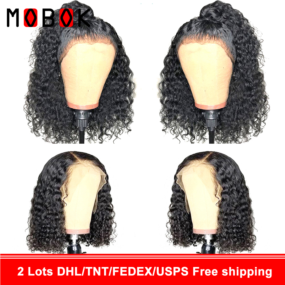 Mobok 360 150% Density Lace Front Human Hair Wigs For Women With Black Afro Kinky Curly Glueless Mongolian Remy Hair Lace Wigs(China)