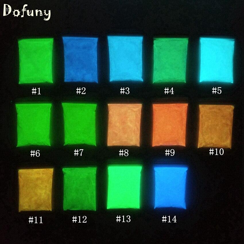 Dofuny 14 Cores Glow In The Dark Luminous Unha Polonês Pó Nail Art Brilho Revestimento de Fósforo Pigmento Luminosa