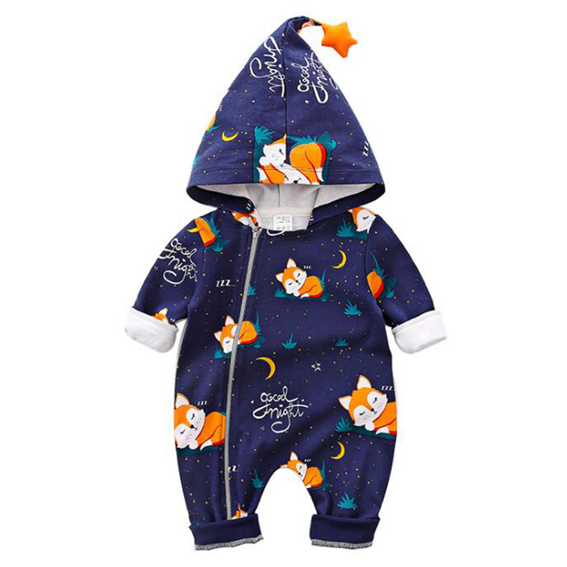 Fox Design Long-sleeve Hooded Jumpsuit For Baby