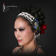 Ethnic Beading Rivets Dance Headwear Accessory Stage Performance Belly Costume Accessory For Lady Belly Dance Accessory