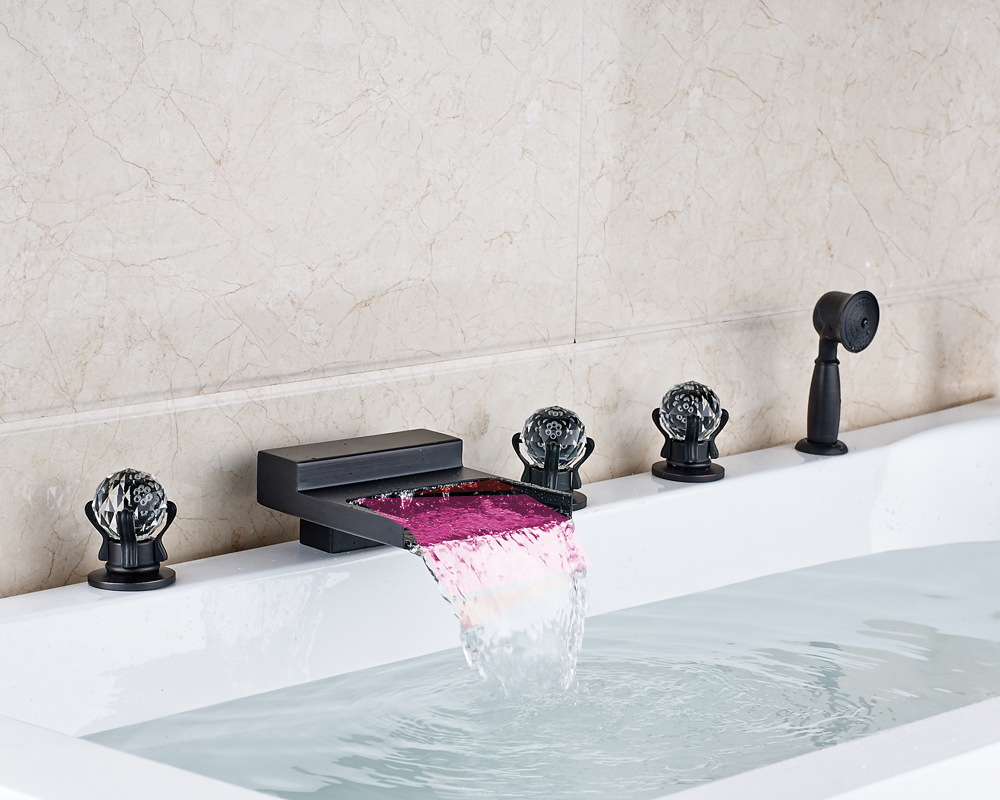 Oil Rubbed Bronze Waterfall LED Spout Three Crystal Handles Bathtub Faucet With Hand Shower