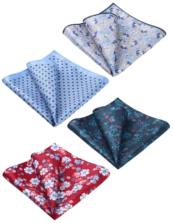 Wedding Party Handkerchief Classic 4 Piece Assorted Floral Paisley Printed Men 100% Silk Handkerchief Pocket Square Hanky Set#