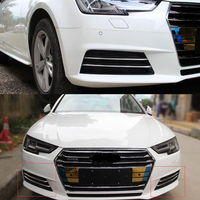 Stainless Steel Car Front Fog Light Lamp Decoration Strips Trim Cover Styling For Audi A4L 2017 4Pcs/set Accessories