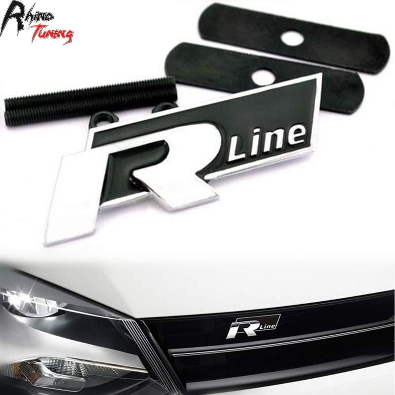 Rhino Tuning Black & Chrome Auto Car R Line Front Emblem for Golf Tiguan Touareg Scirocco R Line Grille Grill Car Badge 486bk waterproof rubber hk right hand steering wheel car floor mats for volkswagengolf 5 6 scirocco with gti tsi r r golf logo